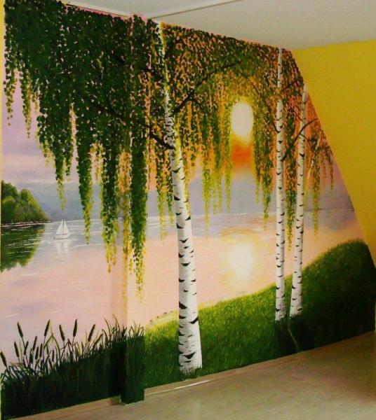 Wandmalerei - Wandmalerei wohnzimmer ...